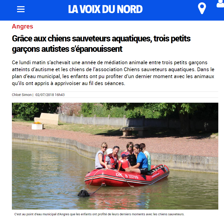 MEDIATION ANIMALE : Les Chiens Sauveteurs à la une En Juillet 2018 dans la presse la Voix du Nord